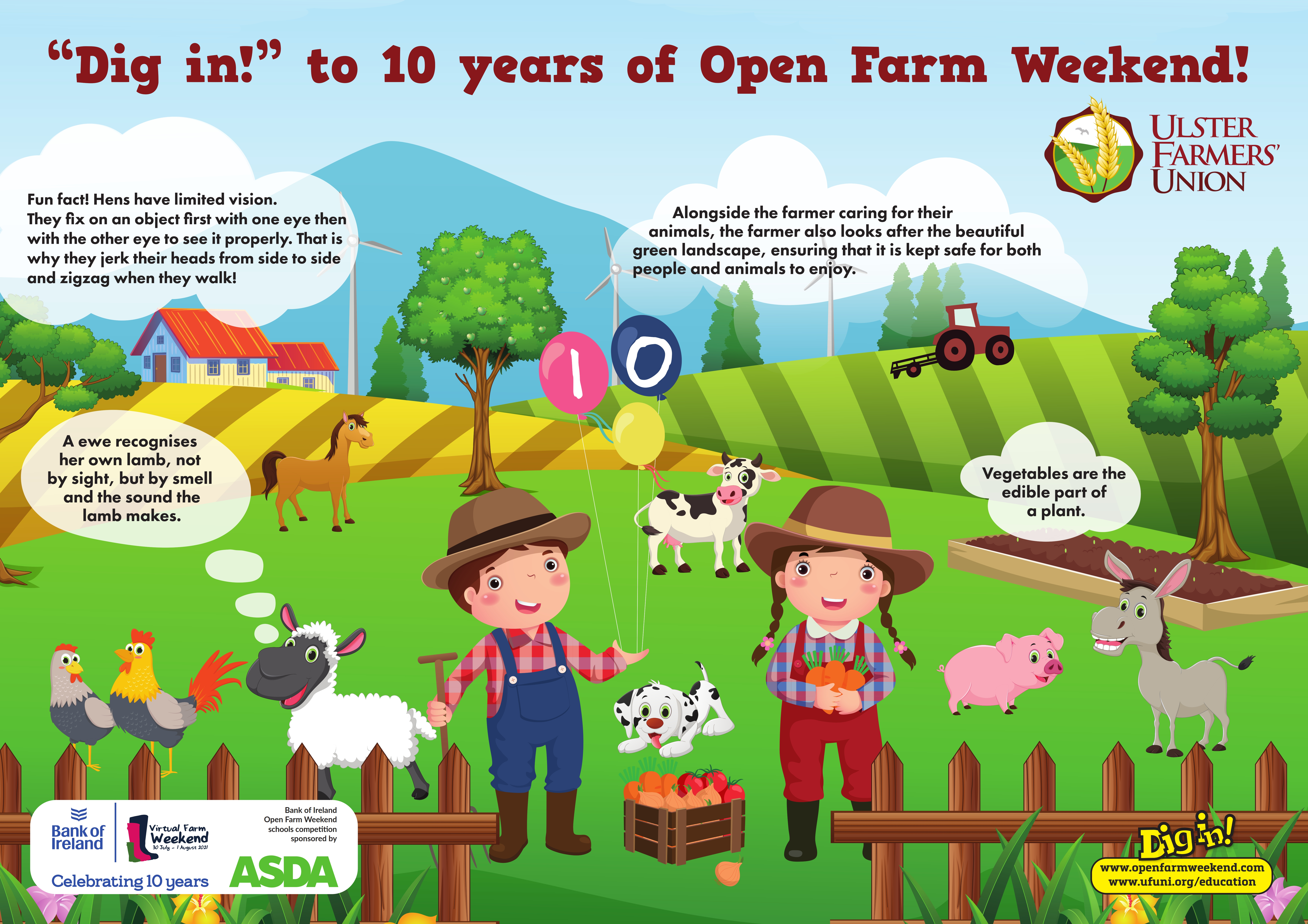 """Schools competition: """"Dig in! to 10 years of Open Farm Weekend"""" poster"""